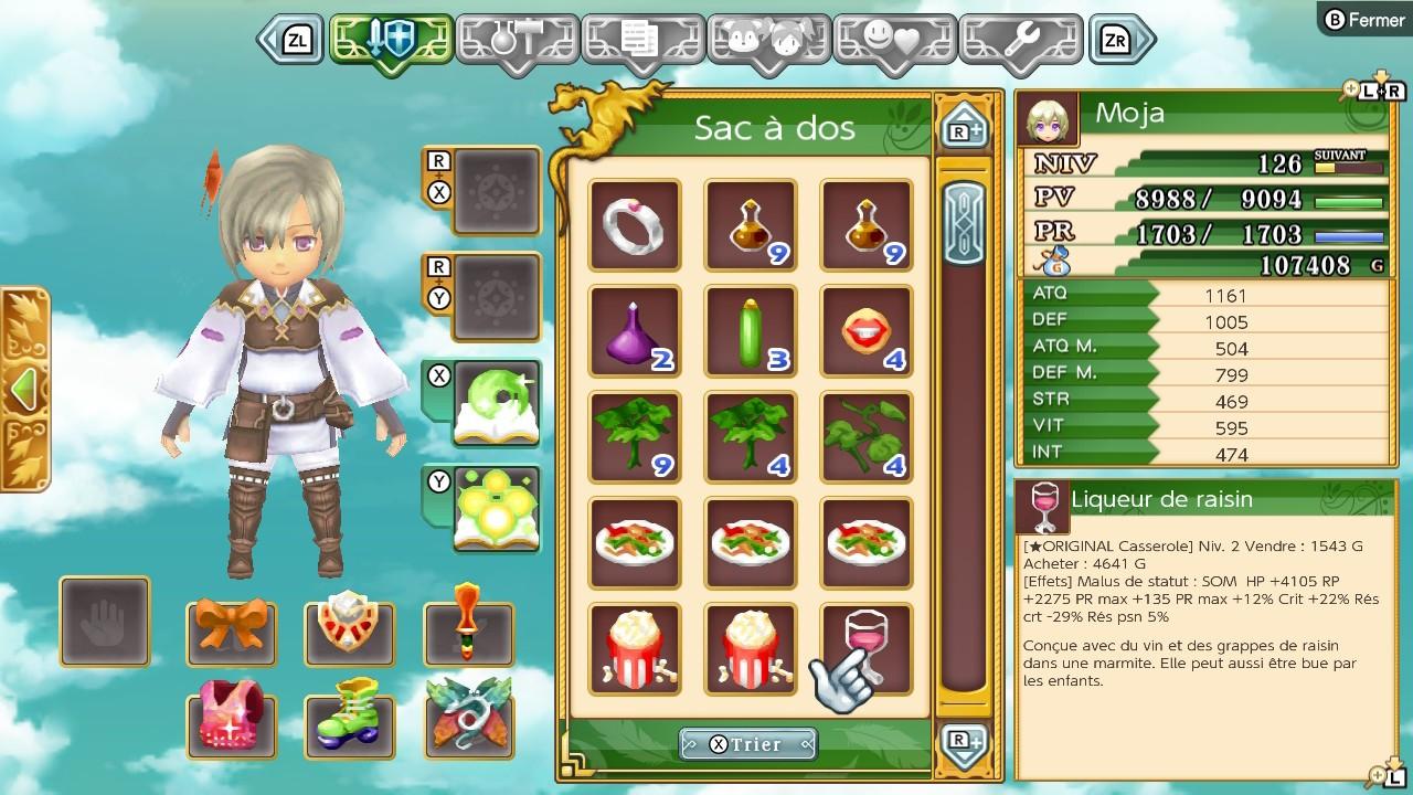 Rune Factory 4 Special Menu